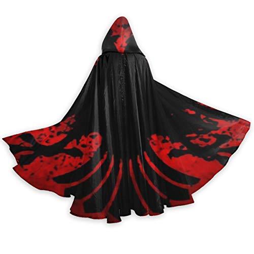 Men Women Tunic Hooded Knight Halloween Cloak for Jedi Robe Costume, Albanian Flag Fire of Bird Black