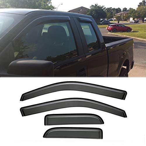 Audrfi 4pcs Window Visors Sun Rain Guard for 04-14 Ford F-150 Super (Extended) Cab Side Window Deflectors Vent Visor