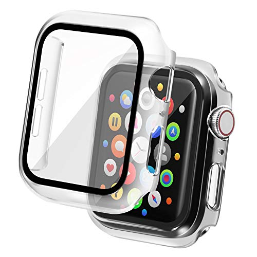 Insten Case Compatible with Apple Watch 40mm Series SE 6 5 4, Matte Hard Cover, Built in Tempered Glass Screen Protector, Full Protection, Clear