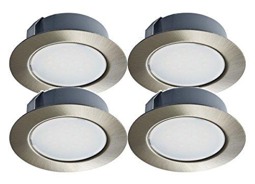 Trango 4er Set G4E-042 LED Möbel Einbaustrahler 12Volt AC/DC Einbauleuchte, Deckenleuchte Nickel matt zum Ersetzen herkömmlichen G4 Möbelleuchte, Küchenhaube Leuchte, Schrankleuchte usw.