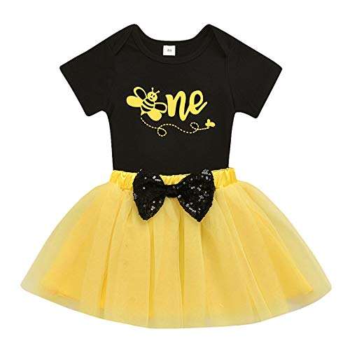 Baby Girls One 1st Birthday Outfit Bee Romper Tulle Tutu Skirt Sets Sequin Bow Princess Party Clothes (12-18 Months, Black)