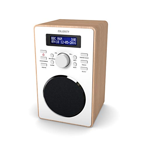 Majority Barton II Retro DAB/DAB+ Digital FM Upright Radio/Alarm Clock/Wood...