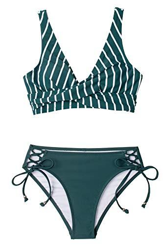 CUPSHE Conjunto de Bikini Mujer Cintura Alta Verde Rayas Cordones Traje de Baño de Dos Piezas, M