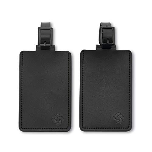 Samsonite 2-Pack Leather Luggage ID Tag, Black Logo, One Size