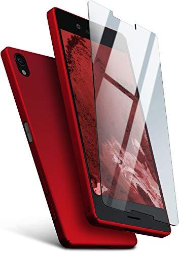 moex Hardcase kompatibel mit Sony Xperia X - Hülle Ultra dünn mit Panzerglas Schutzfolie, Slim Hülle Handyhülle beidseitig, matt Rot