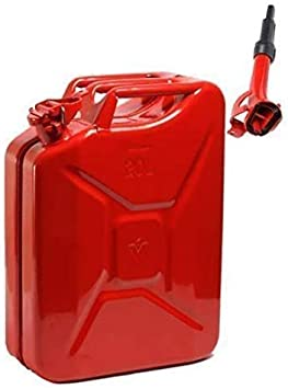 Wheels N Bits NEW 20 LITRE RED JERRY MILITARY CAN FUEL OIL WATER PETROL DIESEL STORAGE TANK WITH SPOUT: image
