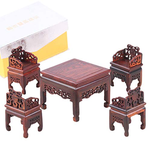 lailongp 5 Stück Massivholz geschnitzt chinesische Antik Ming and Qing Miniatur Möbel Modell für Heimdekoration, Palisander, D, M
