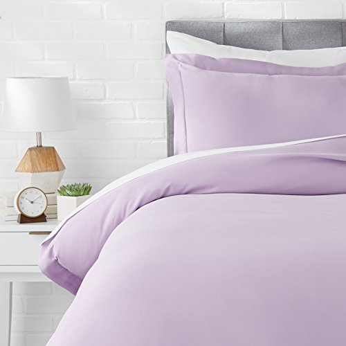 AmazonBasics Light-Weight Microfiber Duvet Cover Set with Snap Buttons - Twin/Twin XL, Frosted Lavender
