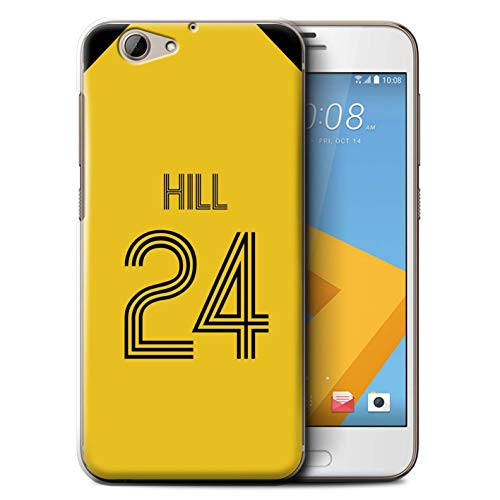 Personalisiert Individuell Fußball Vereine Trikots Kit Hülle für HTC One A9s / Gelb Schwarz Design/Initiale/Name/Text Schutzhülle/Case/Etui