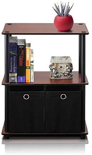 Furinno Go Green 3-Tier Multipurpose Storage Shelf with Bins, Dark Cherry Black
