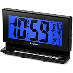 Auto-Night Light Clock - Plumeet Digital Alarm Clock Large LCD Display with Low High Dimmer Backlight - Temperature - Calendar - Ascending Sound and Snooze Function - Battery Operated Only (Blue)
