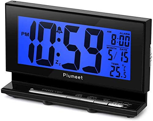 Auto-Night Light Clock - Plumeet Digital Alarm Clock Large LCD Display with Low High Dimmer Backlight Temperature Calendar - Ascending Sound and Snooze Function - Battery Operated Only (Blue)