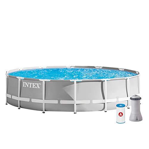 Intex 26724 Piscina Prisma Frame 457X107 Cm Con Pompa Filtro, Scaletta Doppia, Telo Base E Copertura