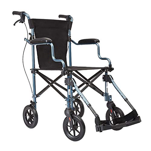Tragbarer Zusammenklappbarer Rollstuhl Manueller Rollstuhl Rollstuhl For Ältere Reiseflugzeuge Kinderrollstuhl Rollstuhl For Behinderte, Mit 100 Kg Tragfähigkeit ( Color : Black , Size : 56*92*85cm )