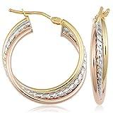 Kooljewelry 10k Tricolor Gold Hoop Earring, 1 inch