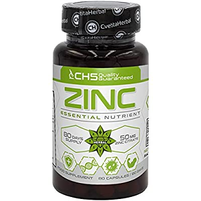 Zinc Citrate | 50mg x 80 Capsules (Zinc from Zinc Citrate 15mg) | 80 Day's Supply | Immune System Support Supplement | Skin Maintenance | by Cvetita Herbal