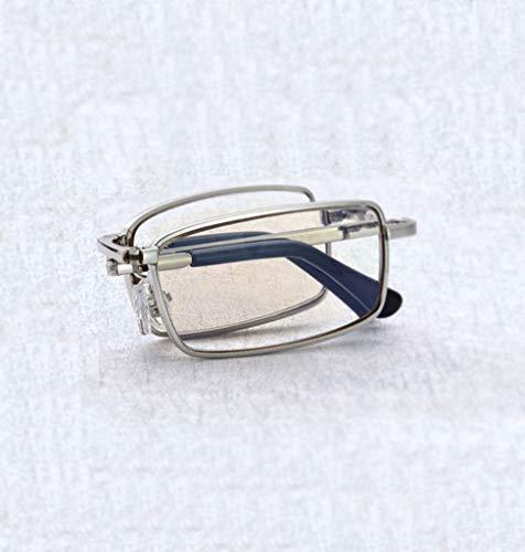 RSGDWD Plegables Gafas de Lectura, Gafas de Anti-BLU-Ray portátil y cómodo for los Hombres y Las Mujeres, Gafas de Lectura móviles oculares Equipo de protección HD, con Caja Gafas/aleación de Marco