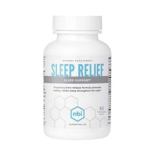 NBI Sleep Relief Melatonin Natural Formula | Soothing Bedtime Sleep Aid Supplement | Insomnia Support with Magnesium and L-Theanine | 60ct Tablets