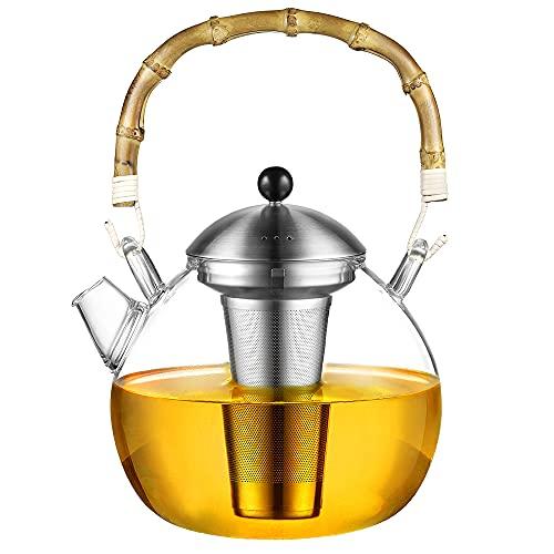 glastal Tetera de cristal de borosilicato de 1500 ml, tetera de té con colador de acero inoxidable 18/8, mango de bambú natural, jarra de cristal para calientaplatos, bolsa de té fina, té con flores