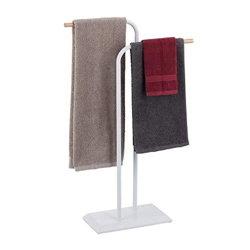 Relaxdays Handtuchständer zweiarmig, Handtuchstangen, Doppel Handtuchhalter, Stahl, Holz, HxBxT 90 x 56 x 20 cm, weiß