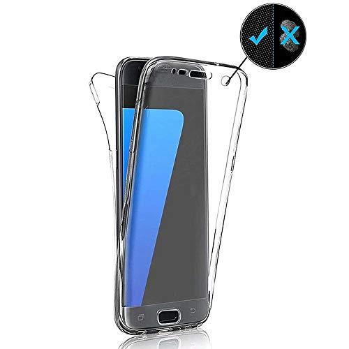 Miagon für Samsung Galaxy A51 Handyhülle 360 Grad Transparent Silikon Etui Full Cover Vorne Hinten Rundum Doppel-Schutz Hülle Case Cover