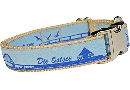 Hundehalsband Ostsee Maritim Urlaub Sommer Halsband Hund Marine für kleine Hunde Nylon Halsung Band verstellbar 30 - 43 cm x 2,0 cm