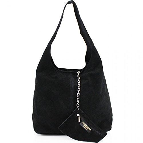 AMBRA Moda Damen Ledertasche Shopper Wildleder Handtasche Schultertasche Beuteltasche WL818 (Schwarz)