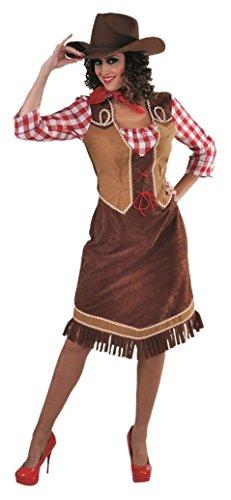 narrenkiste M215110-L braun-rot Damen Cowgirl Saloongirl Westernkleid Gr.L