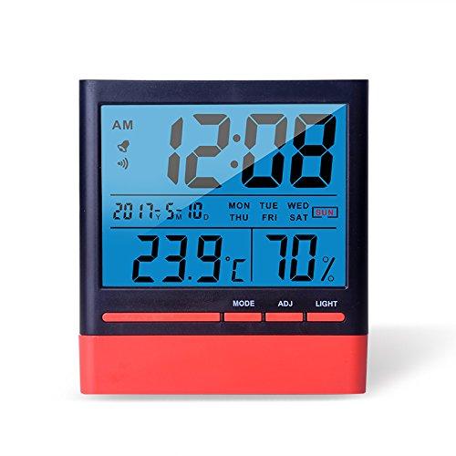 Termometro e igrometro digitale LCD con retroilluminazione, temperatura in °C e °F, da -50°C a 70°C, umidità dal 10% al 99%, orologio 12/24h, calendario, sveglia, batteria inclusa