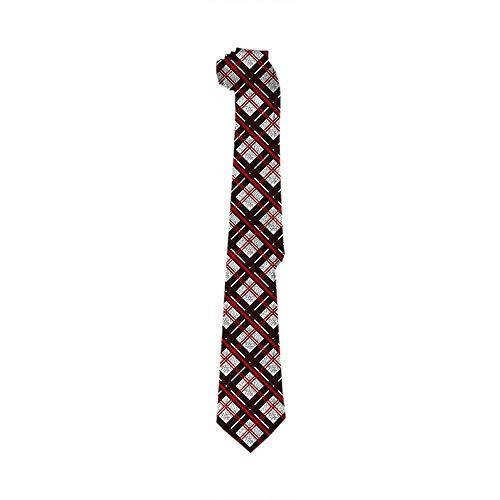 Corbata a cuadros Novetly para hombre, patrón de cuadros escoceses de búfalo tejido flaco en corbata de seda blanca roja Corbatas de moda de Navidad para hombres y niños