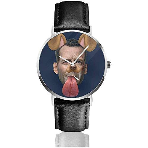 Unisex Die Hard John McClaine Hund Snapchat Filter Uhren Quarz Lederuhr mit schwarzem Lederband