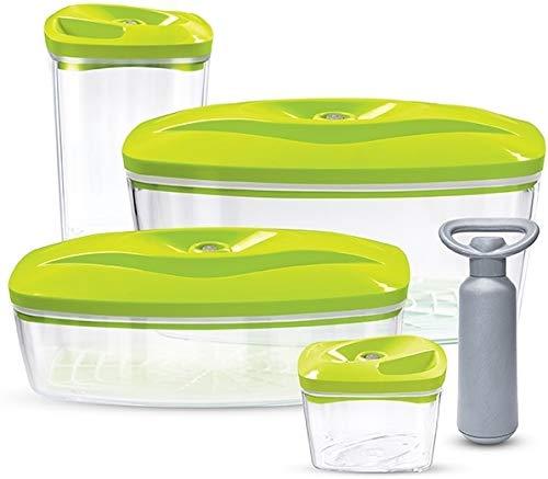 Set 4 Dafi Contenitori sottovuoto per alimenti con pompa   0.5L, 1.3L, 1.5L, 2.7L   colore: Verde