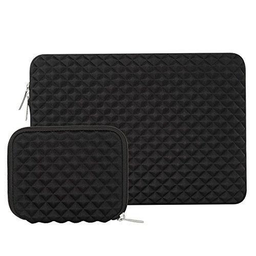 MOSISO Laptop Sleeve Compatibile con 2019 MacBook PRO 16 Pollici A2141,15-15,6 Pollici MacBook PRO Retina 2012-2015,Notebook,Diamante Modello Idrorepellente Borsa con Piccolo Caso, Nero