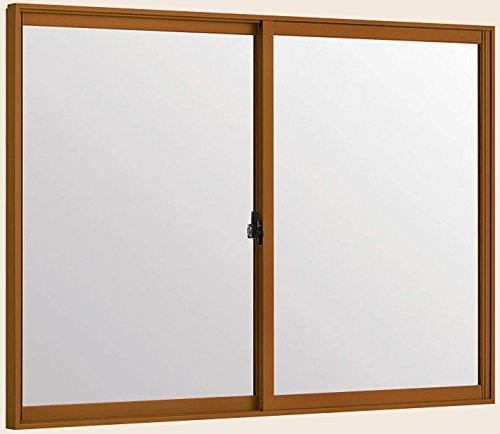 トステム インプラス 引き違窓 2枚建 単板ガラス 幅1001~1500mm×高1001~1400mm 5mm透明ガラス 枠色:キャラメルウッドG オーダー商品