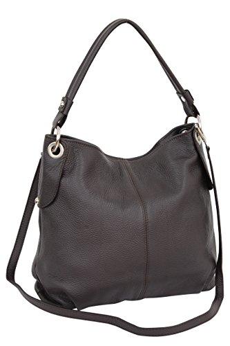 Ambra Moda GL012 - Borsa a tracolla da donna in vera pelle, Marrone (marrone scuro.), Large