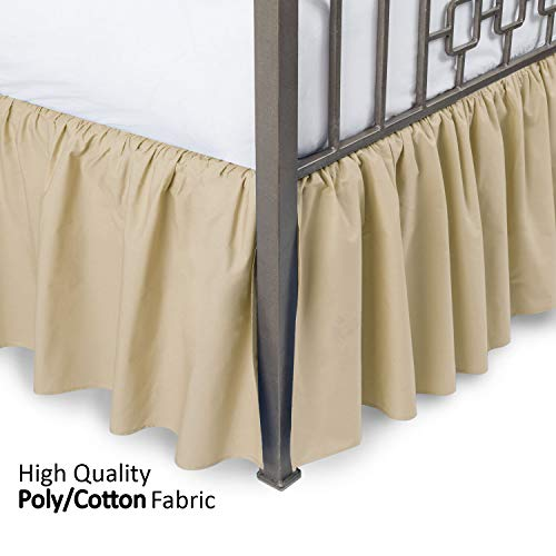 Ruffled Bed Skirt with Split Corners - Queen, Stone, 18 Inch Drop Bedskirt (Available in and 16 Colors) - Blissford