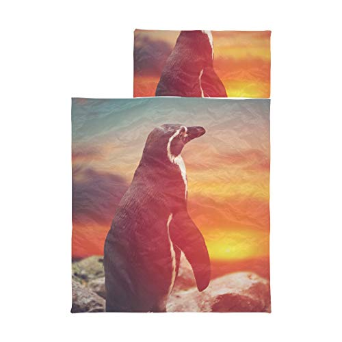 Camping Sleeping Bags For Kids Penguin Standing On Rocks Looking Into Kids Napping Sleeping Bag Soft Microfiber Lightweight Nap Mat For Toddler Girls Perfect For Preschool, Daycare And Sleepovers