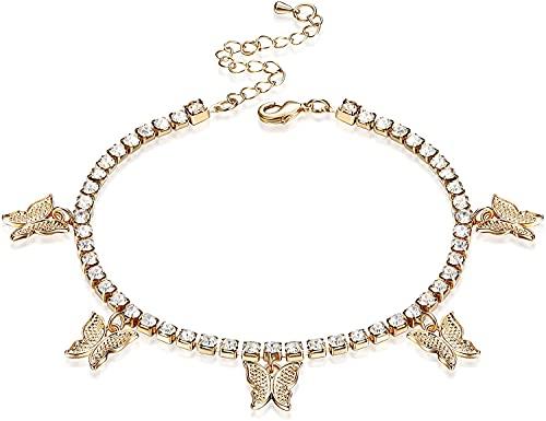 Milacolato Cheville Bracelets Papillon Cheville pour Femmes Bracelets De Cheville Strass Papillon Bracelets De Cheville Boho Plage Tennis Chaîne Bracelets De Cheville Pied Bijoux