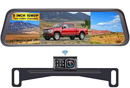DoHonest S4 HD 1080P Digital Wireless Backup Camera Kit, License Plate Rear View Hitch Camera with 5'' Mirror Monitor for Trucks,Cars,Vans,SUVs...