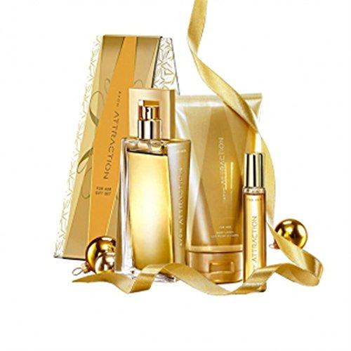 Avon Attraction für Sie Geschenkset Eau de Parfüm 50ml + Taschenspray 10ml und Körperlotion 150ml