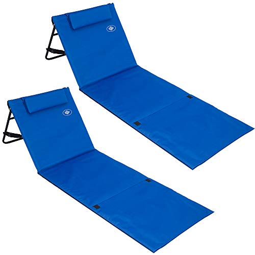 Deuba 2X Strandmatte Faltbar Gepolstert Kissen verstellbare Rückenlehne Staufach Badematte Isomatte Strandtuch Blau
