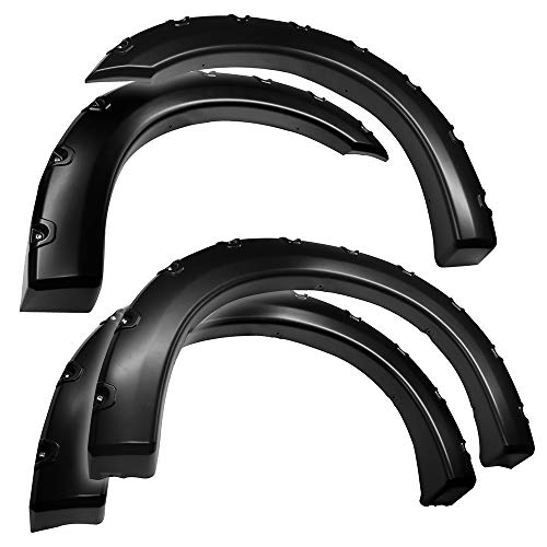 Tyger Auto TG-FF8F4098 for 1999-2005 Ford F250 F350 Super Duty (ONLY Fit Styleside Models) | Paintable Smooth Matte Black Pocket Bolt-Riveted Style Fender Flare Set, 4 Piece