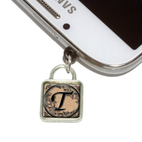 Vintage Letter T Initial Black Tan Mobile Phone Jack Square Charm Universal Fits iPhone Galaxy HTC