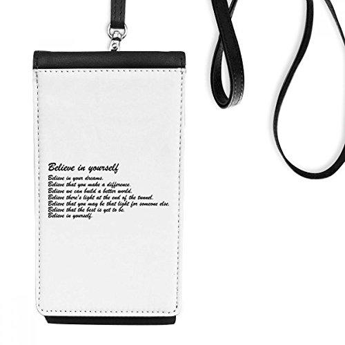 DIYthinker Berühmte Poesie Zitat Glauben Sie an selbst Kunstleder Smartphone hängende Handtasche Schwarze Phone Wallet Geschenk