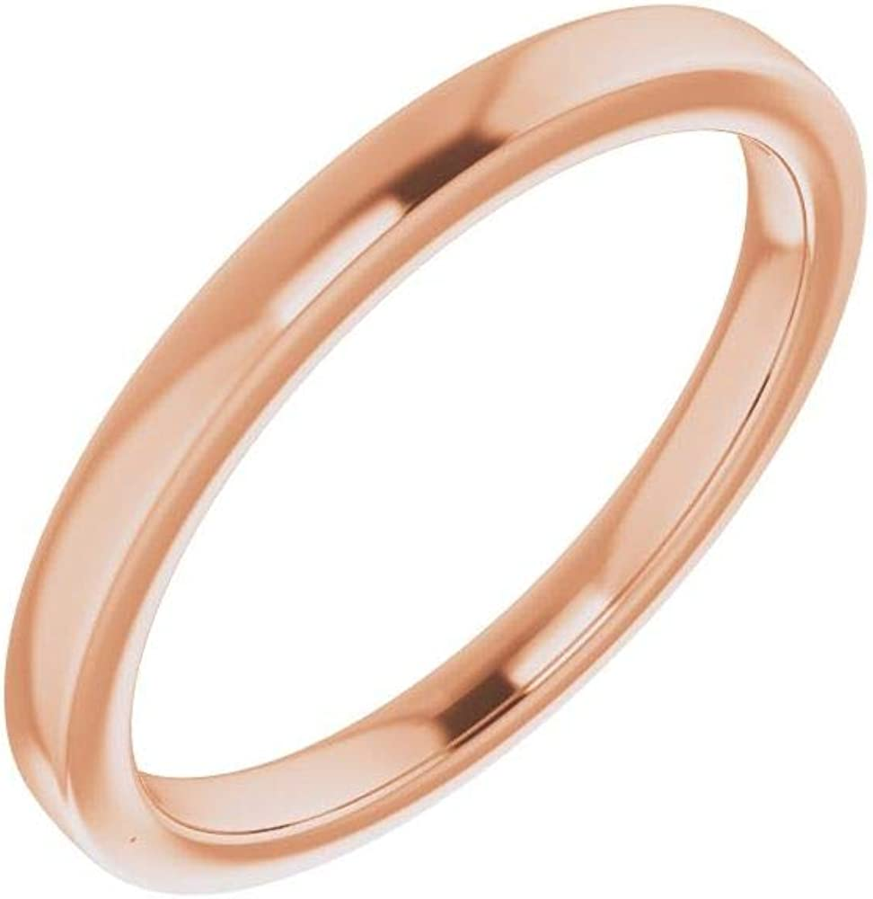 Solid 10K Rose Gold Curved Notched Wedding Band for 10mm Cushion Ring Guard Enhancer - Size 7