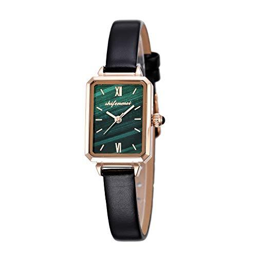 Minimalistische Armbanduhr Damen, Boxy Quadrat Metallgehäuse Leder Armband Analog Quarz Perle Ultradünne Leicht Wasserdicht Uhren Elegante Geschenke für Frauen inkl. Geschenbox (Quadrat+Leder)