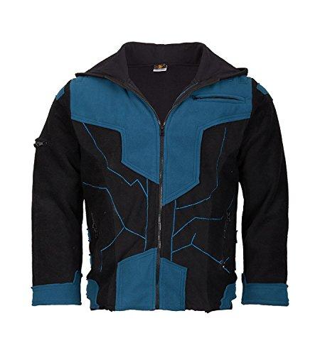 KUNST UND MAGIE Herren Goajacke aus Fleece mit Futuristischen Patches, Größe/Size:XXL;Farbe:Petrol