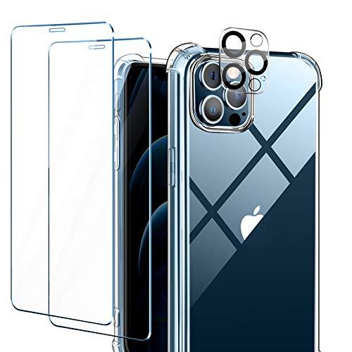 AROYI Funda Compatible con iPhone 12 Pro MAX 6,7 Pulgadas, 2 Pack Cristal Templado y 1 Pack Lente de cámara, Clear