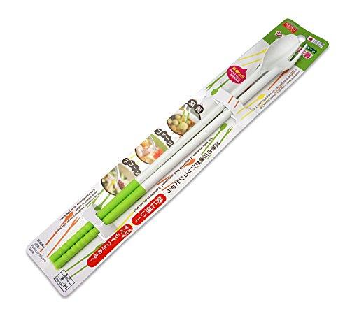 Japanische Essstäbchen, beidseitig einsetzbar, extra lang, Silikonspitzen, verschiedene Farben, Silikon, weiß / grün, approx 30cm long.