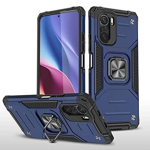 GOGME Funda para Xiaomi Mi 11i 5G Delgado Rubber Caso, Estuche con 360 Anillo Soporte Coche Magnético Hard PC + Silicona TPU Bumper Híbrida Rugged Antigolpes Carcasa, Azul